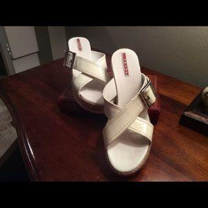Authentic Prada wedge sandals